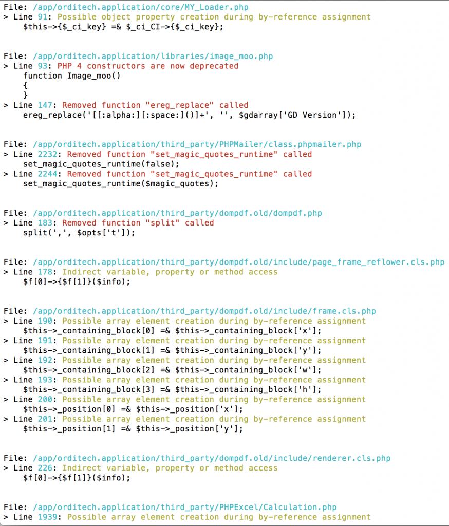 exemple d'erreurs php7cc